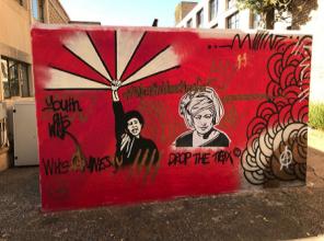 "A photo of street graffiti taken by Peter Williams, IdentityX Ambassador in Johannesburg, South Africa ""#WorthBleedingFor (Youth of War)"""
